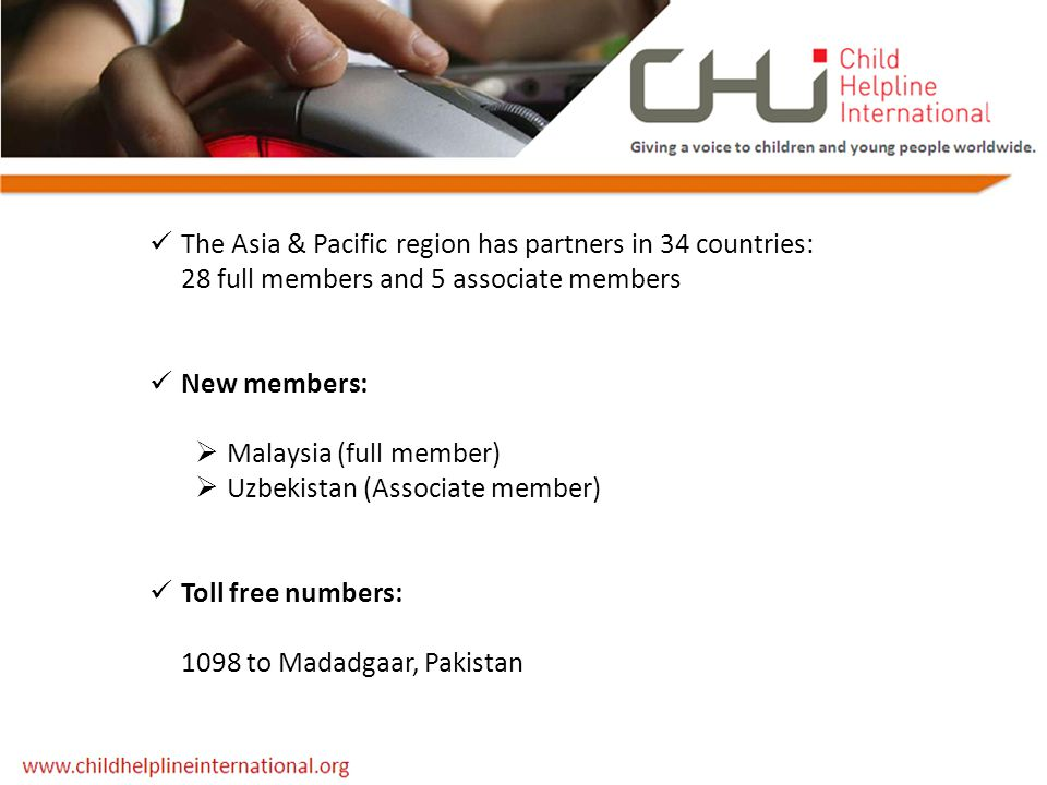 The Asia & Pacific region has partners in 34 countries: 28 full members and 5 associate members New members:  Malaysia (full member)  Uzbekistan (As