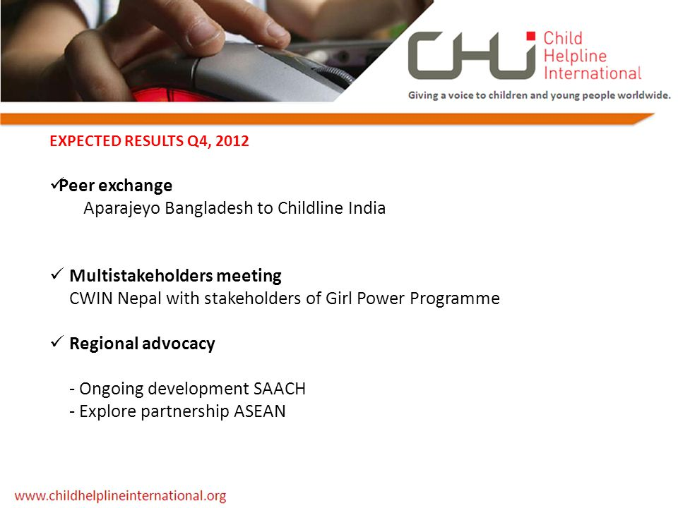 EXPECTED RESULTS Q4, 2012 Peer exchange Aparajeyo Bangladesh to Childline India Multistakeholders meeting CWIN Nepal with stakeholders of Girl Power P