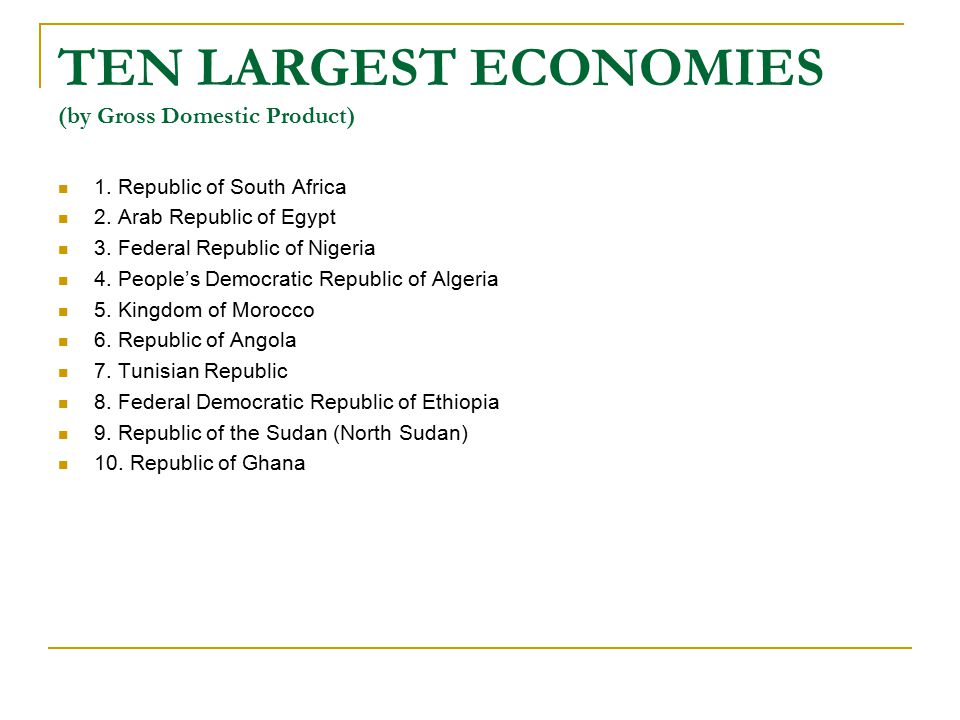TEN LARGEST ECONOMIES (by Gross Domestic Product) 1.
