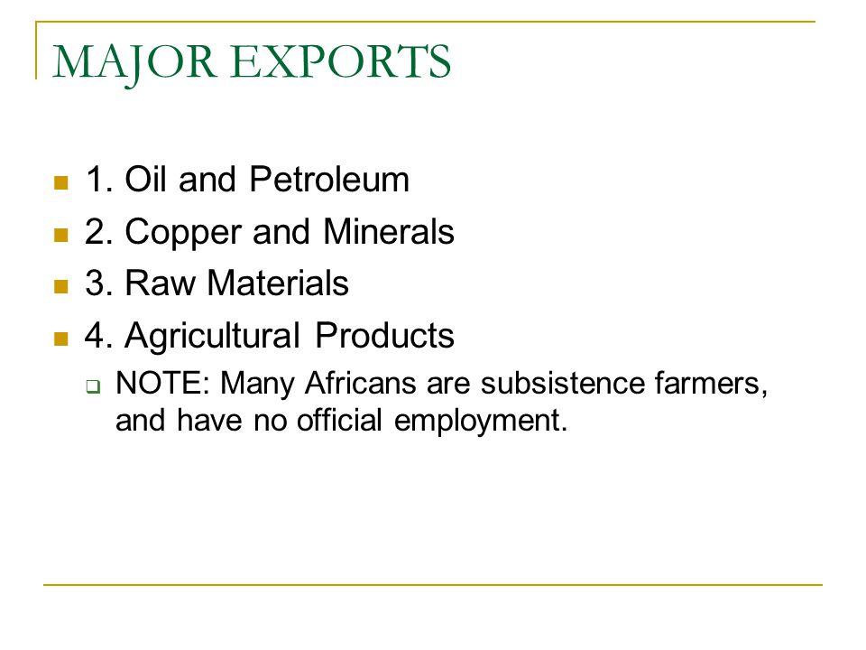 MAJOR EXPORTS 1. Oil and Petroleum 2. Copper and Minerals 3.