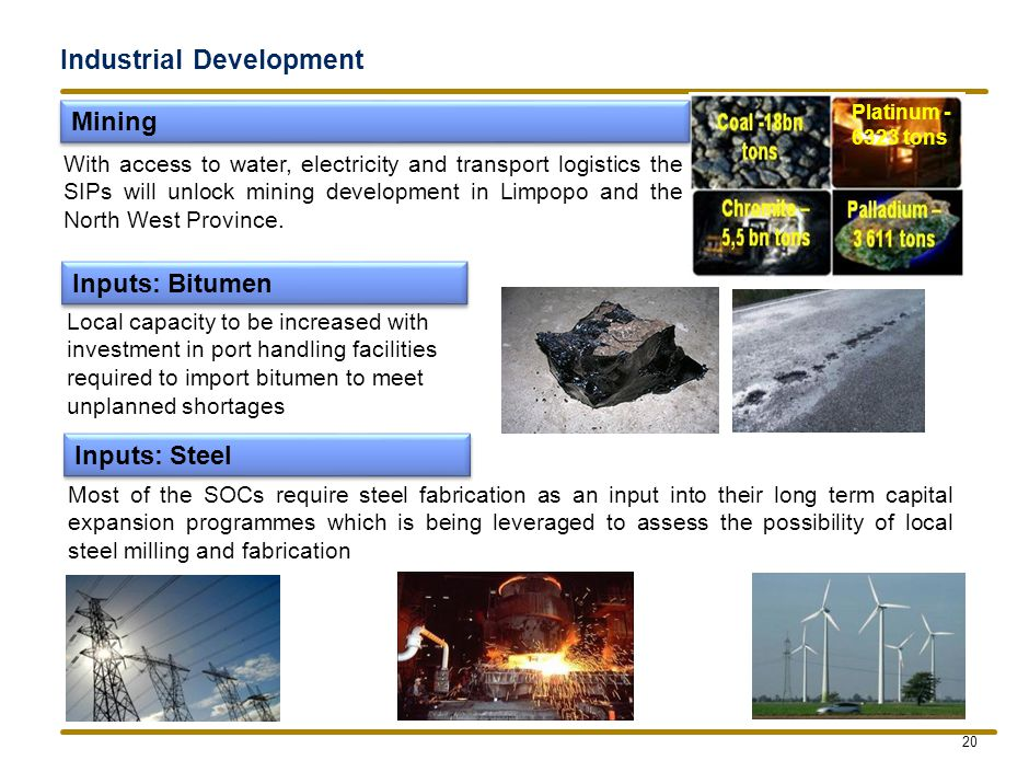 Industrial Development 20 Platinum - 6323 tons Mining Inputs: Steel Inputs: Bitumen With access to water, electricity and transport logistics the SIPs will unlock mining development in Limpopo and the North West Province.