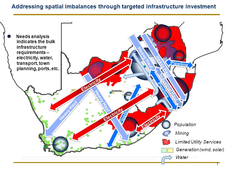 Addressing spatial imbalances through targeted infrastructure investment Needs analysis Population Generation (wind, solar) Mining Limited Utility Services Heavy Haul Industrial Haul Electricity Water Heavy Haul Pipeline Heavy Haul ……..