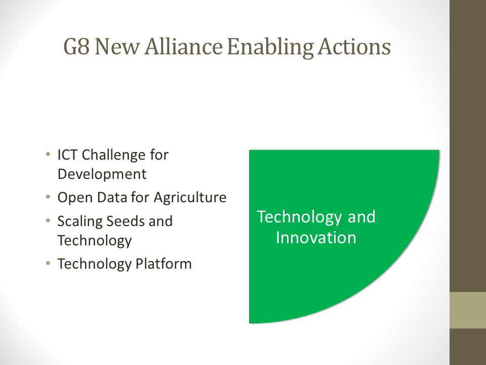 G8 New Alliance Enabling Actions ICT Challenge for Development Open Data for Agriculture Scaling Seeds and Technology Technology Platform Technology and Innovation