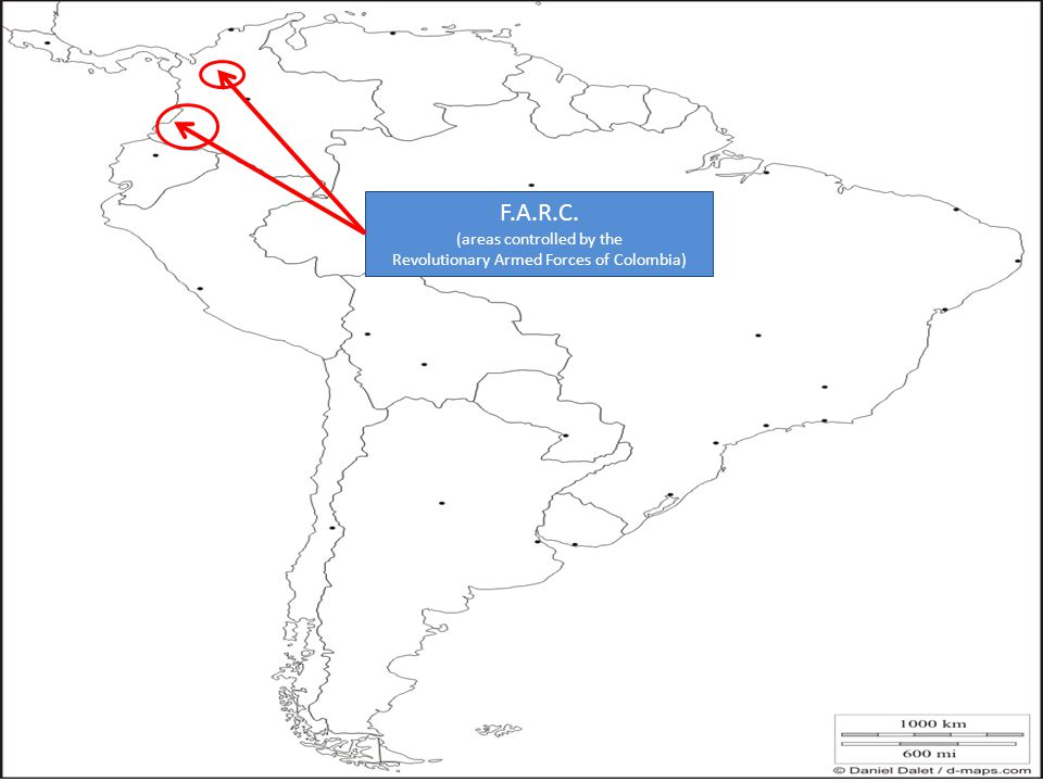 F.A.R.C. (areas controlled by the Revolutionary Armed Forces of Colombia)