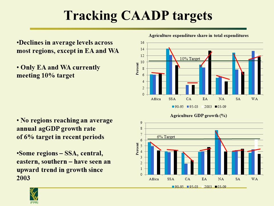 IFPRI Tracking CAADP targets Declines in average levels across most regions, except in EA and WA Only EA and WA currently meeting 10% target No regions reaching an average annual agGDP growth rate of 6% target in recent periods Some regions – SSA, central, eastern, southern – have seen an upward trend in growth since % Target