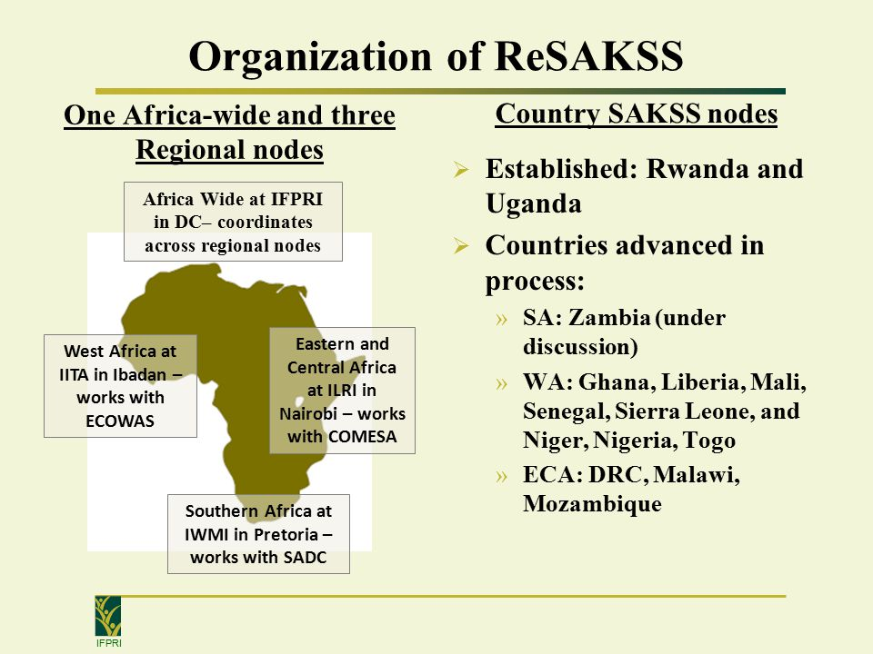IFPRI Organization of ReSAKSS One Africa-wide and three Regional nodes Country SAKSS nodes  Established: Rwanda and Uganda  Countries advanced in process: »SA: Zambia (under discussion) »WA: Ghana, Liberia, Mali, Senegal, Sierra Leone, and Niger, Nigeria, Togo »ECA: DRC, Malawi, Mozambique Eastern and Central Africa at ILRI in Nairobi – works with COMESA Southern Africa at IWMI in Pretoria – works with SADC West Africa at IITA in Ibadan – works with ECOWAS Africa Wide at IFPRI in DC– coordinates across regional nodes