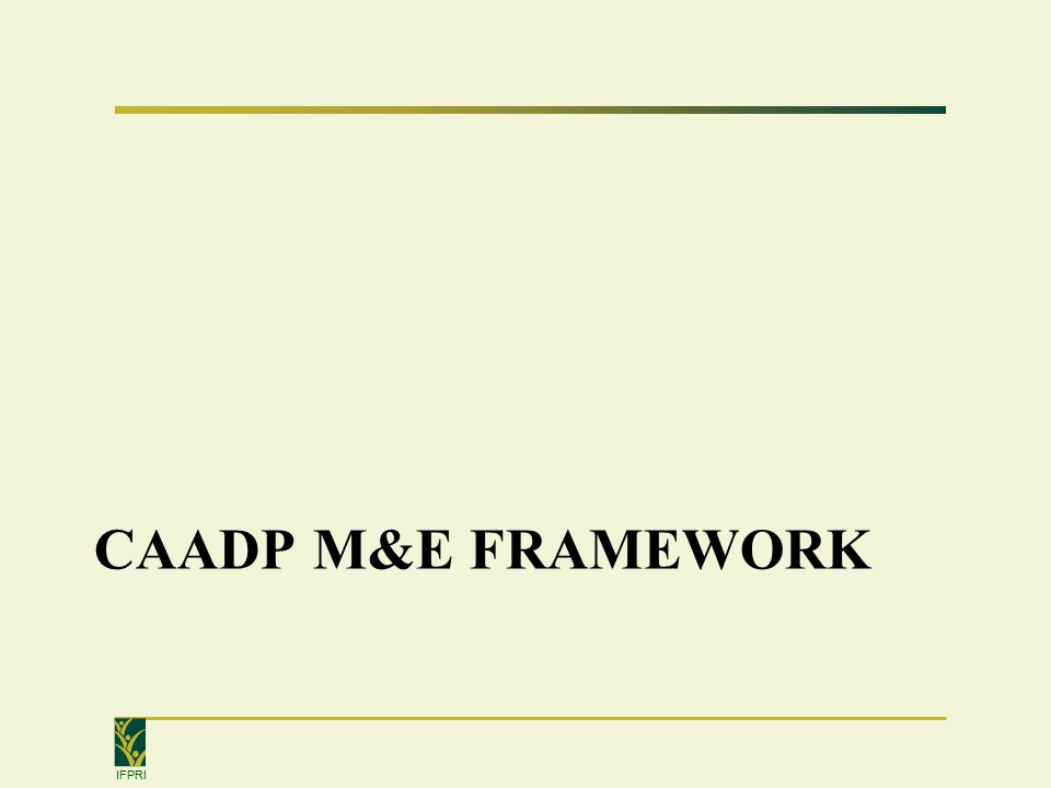 IFPRI Idea behind M&E framework Page 5 Greater/better distributed poverty reduction & food and nutrition security outcomes Greater/better distributed poverty reduction & food and nutrition security outcomes Accelerated agricultural growth & Greater market access More enabling policies & Greater/more efficient allocation of agricultural investments More enabling policies & Greater/more efficient allocation of agricultural investments Global level Commitments Africa-wide level Declarations Decisions Regional level Early actions 8 7 6 1 2 3 5 P 4 P 3 P 2 4 P 1 National level Roundtable Processes Other factors More effective trackingtracking reportingreporting analysisanalysis
