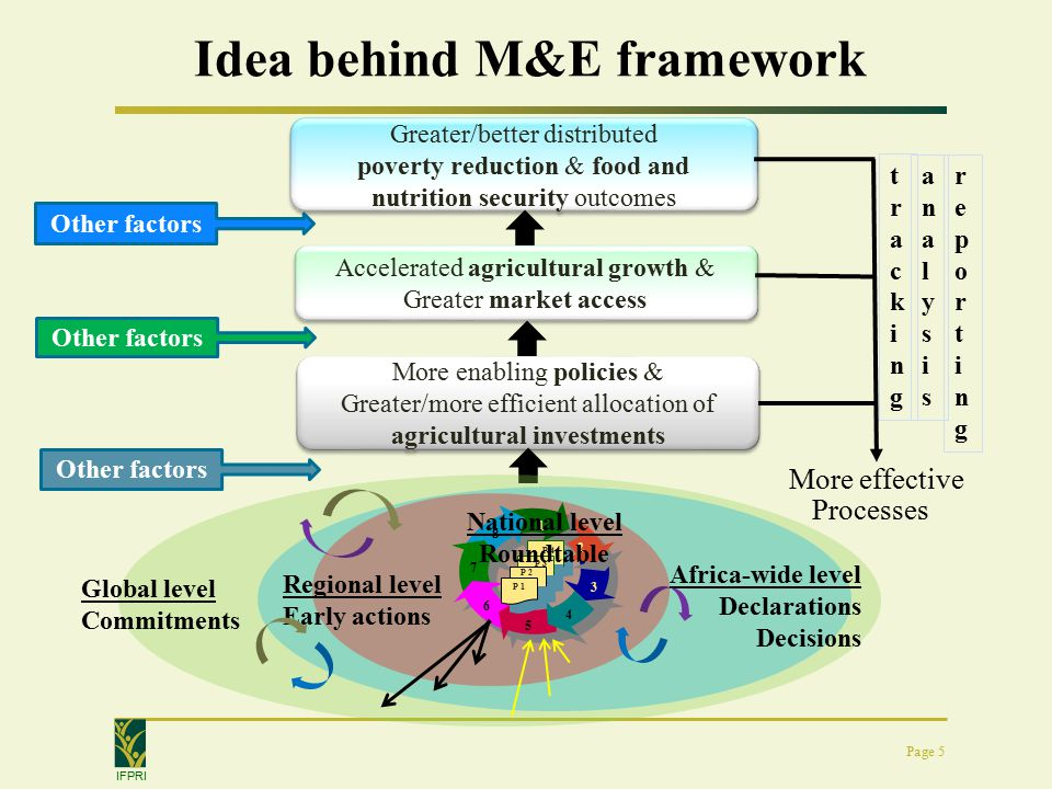IFPRI Idea behind M&E framework Page 5 Greater/better distributed poverty reduction & food and nutrition security outcomes Greater/better distributed poverty reduction & food and nutrition security outcomes Accelerated agricultural growth & Greater market access More enabling policies & Greater/more efficient allocation of agricultural investments More enabling policies & Greater/more efficient allocation of agricultural investments Global level Commitments Africa-wide level Declarations Decisions Regional level Early actions P 4 P 3 P 2 4 P 1 National level Roundtable Processes Other factors More effective trackingtracking reportingreporting analysisanalysis