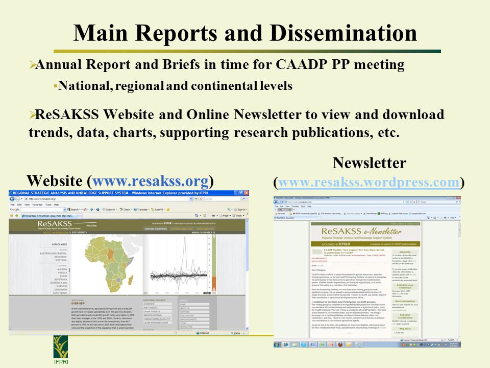 IFPRI Main Reports and Dissemination Website (  Newsletter (   Annual Report and Briefs in time for CAADP PP meeting  National, regional and continental levels  ReSAKSS Website and Online Newsletter to view and download trends, data, charts, supporting research publications, etc.