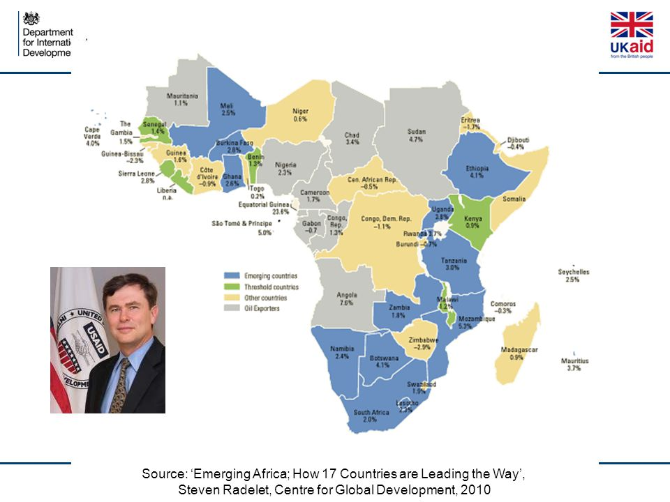 Source: 'Emerging Africa; How 17 Countries are Leading the Way', Steven Radelet, Centre for Global Development, 2010