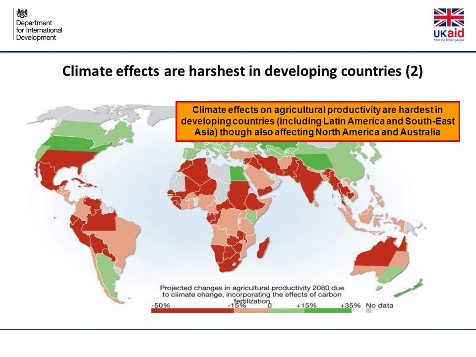 Climate effects are harshest in developing countries (2) Climate effects on agricultural productivity are hardest in developing countries (including L