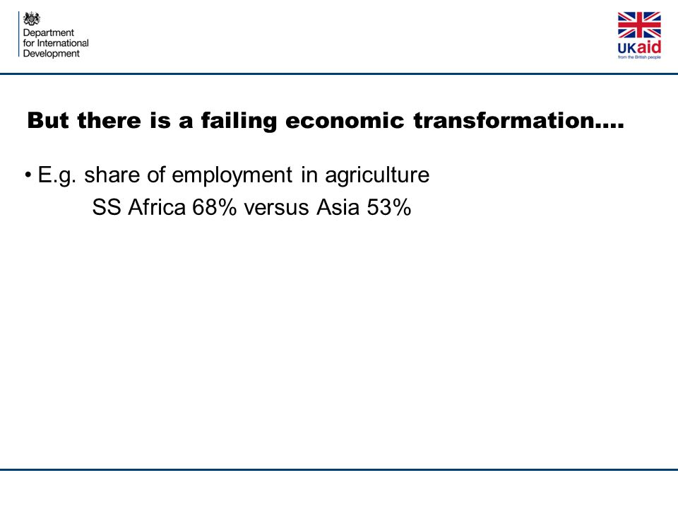 But there is a failing economic transformation…. E.g.