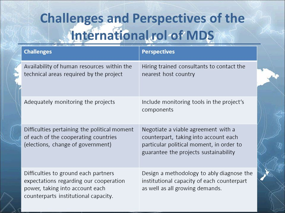 Challenges and Perspectives of the International rol of MDS ChallengesPerspectives Availability of human resources within the technical areas required
