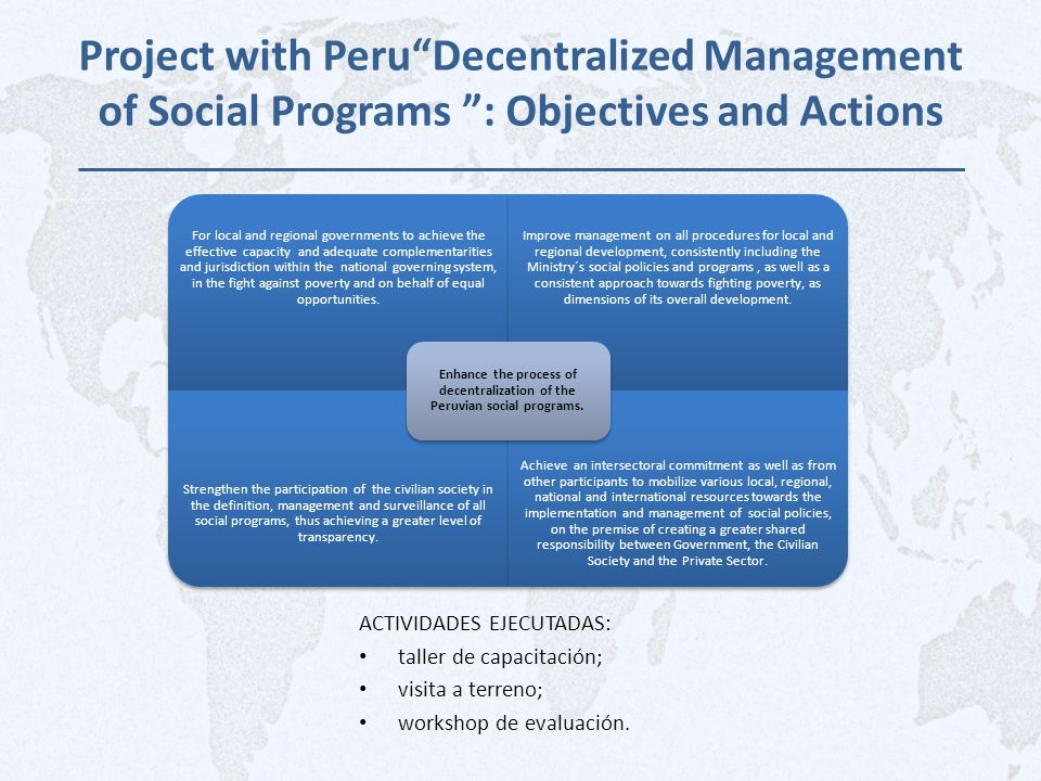 "Project with Peru""Decentralized Management of Social Programs "": Objectives and Actions ACTIVIDADES EJECUTADAS: taller de capacitación; visita a terre"