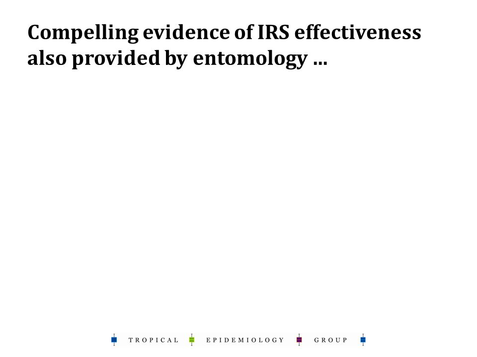 Compelling evidence of IRS effectiveness also provided by entomology...