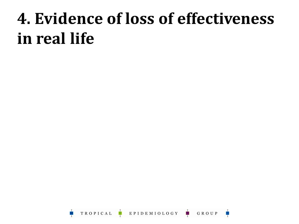 4. Evidence of loss of effectiveness in real life