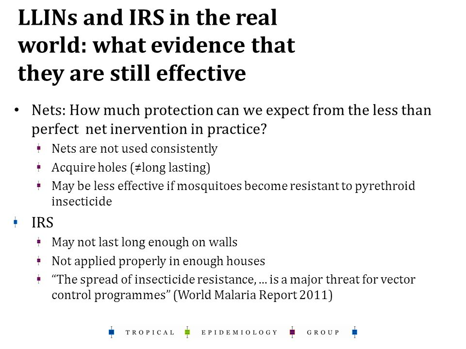 LLINs and IRS in the real world: what evidence that they are still effective Nets: How much protection can we expect from the less than perfect net inervention in practice.