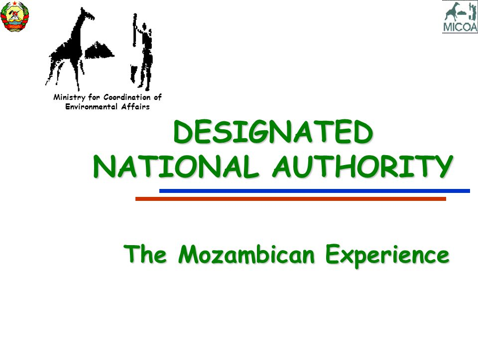 Ministry for Coordination of Environmental Affairs DESIGNATED NATIONAL AUTHORITY The Mozambican Experience