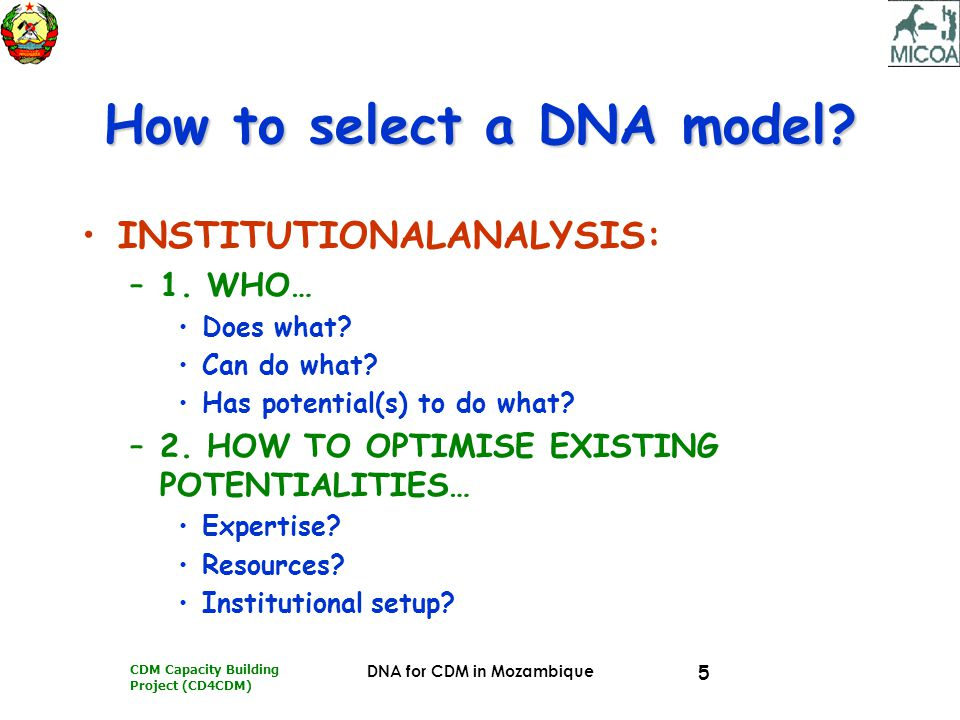 CDM Capacity Building Project (CD4CDM) DNA for CDM in Mozambique 5 How to select a DNA model.