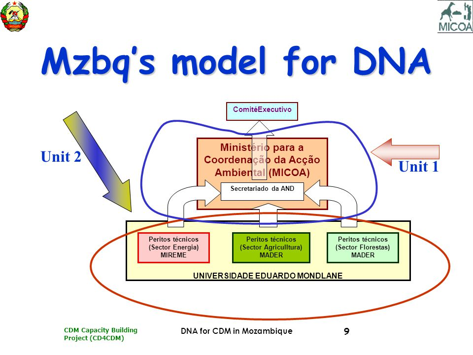 CDM Capacity Building Project (CD4CDM) DNA for CDM in Mozambique 9 Mzbq's model for DNA UNIVERSIDADE EDUARDO MONDLANE Ministério para a Coordenação da Acção Ambiental (MICOA) Secretariado da AND Peritos técnicos (Sector Energia) MIREME Peritos técnicos (Sector Agriculltura) MADER Peritos técnicos (Sector Florestas) MADER ComitéExecutivo Unit 2 Unit 1