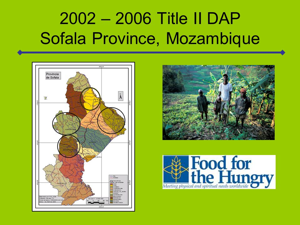 The program was 100% monetization and had two strategic objectives: To increase real per capita income of farming families in project areas by 45% To decrease chronic malnutrition (HAZ  -2.0) in children 6-59 months of age by 20%
