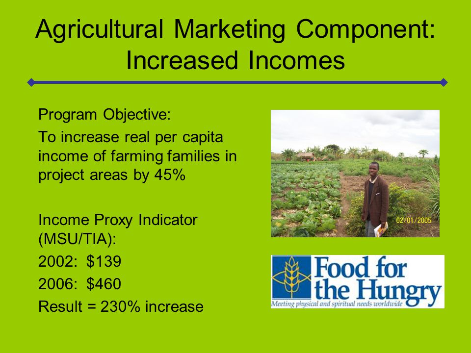Conclusions Monetization provided a critical cash resource for agricultural training and marketing support which resulted in significant increases in crop production and sales; Agriculture-related economic growth is a viable engine of development for rural areas of Sofala Province, Mozambique; Future MYAPs in Mozambique should continue to have a strong focus on income generation and child health and nutrition funded via monetization.