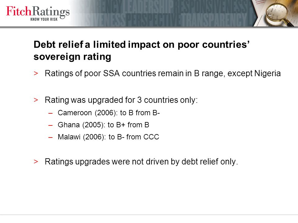 Debt relief a limited impact on poor countries' sovereign rating >Ratings of poor SSA countries remain in B range, except Nigeria >Rating was upgraded
