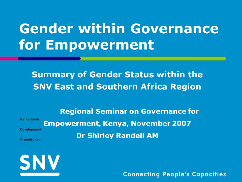 Particular niche or added value of SNV Provide advisory services, KDBN through LCBs to ensure that: Client organization's services are sensitive to the needs of women and PLWHA through support to gender analyses, production of gender disaggregated data and development of gender mainstreaming capacities through tools development and sharing of gender approaches Supporting prioritization of gender and HIV/Aids interventions in budgeting, planning, policy formulation, implementation, monitoring and evaluation at both macro and meso levels through work with national based institutions and provincial and district based organizations Support resource mobilization for HIV/Aids and Gender mainstreaming among client organizations (Zambia) GIE inter-regional meeting - 19 November 2007