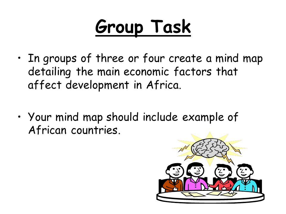 Group Task In groups of three or four create a mind map detailing the main economic factors that affect development in Africa.