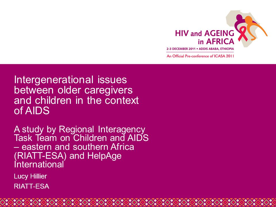 Title Slide Heading Lucy Hillier RIATT-ESA Intergenerational issues between older caregivers and children in the context of AIDS A study by Regional Interagency Task Team on Children and AIDS – eastern and southern Africa (RIATT-ESA) and HelpAge International