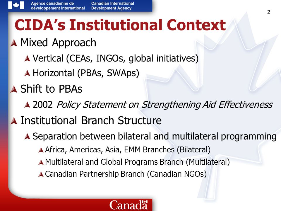 2 2 2 CIDA's Institutional Context Mixed Approach Vertical (CEAs, INGOs, global initiatives) Horizontal (PBAs, SWAps) Shift to PBAs 2002 Policy Statement on Strengthening Aid Effectiveness Institutional Branch Structure Separation between bilateral and multilateral programming Africa, Americas, Asia, EMM Branches (Bilateral) Multilateral and Global Programs Branch (Multilateral) Canadian Partnership Branch (Canadian NGOs)