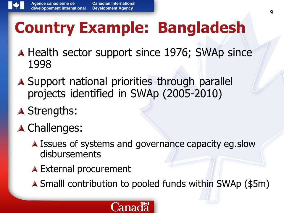 9 9 9 Country Example: Bangladesh Health sector support since 1976; SWAp since 1998 Support national priorities through parallel projects identified i