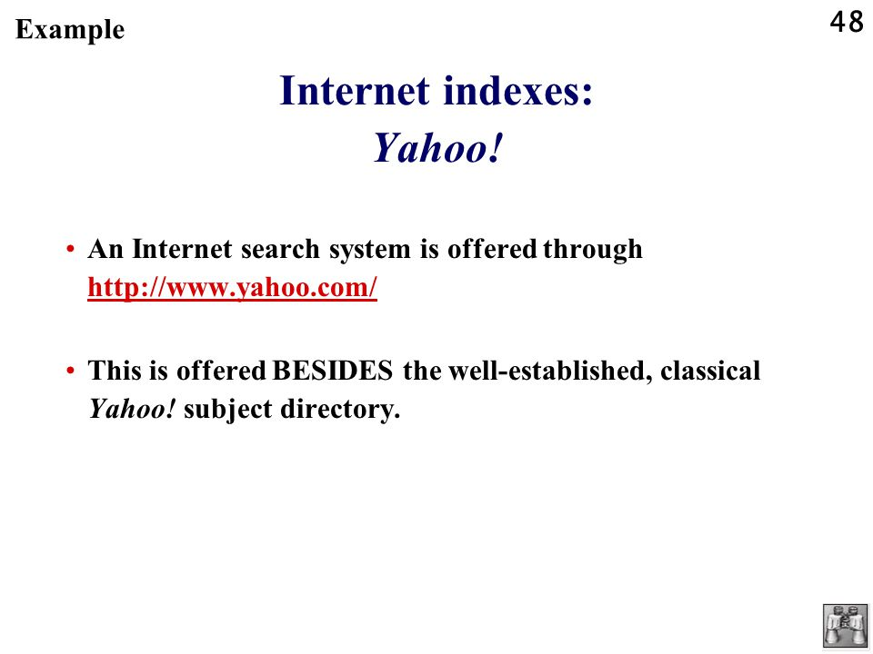 48 Internet indexes: Yahoo.