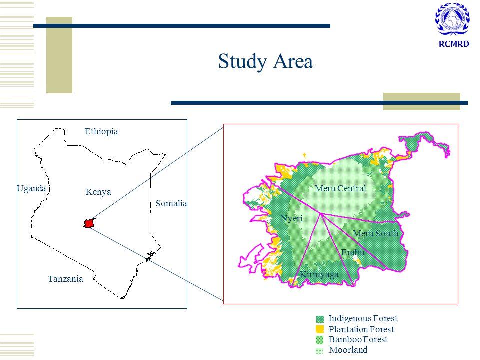 RCMRD Study Area Embu Indigenous Forest Plantation Forest Bamboo Forest Moorland Kirinyaga Meru South Meru Central Nyeri Kenya Ethiopia Somalia Tanzania Uganda Embu