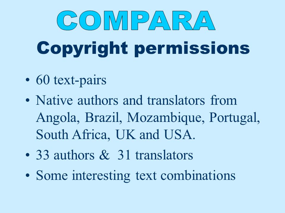 Copyright permissions 60 text-pairs Native authors and translators from Angola, Brazil, Mozambique, Portugal, South Africa, UK and USA. 33 authors & 3