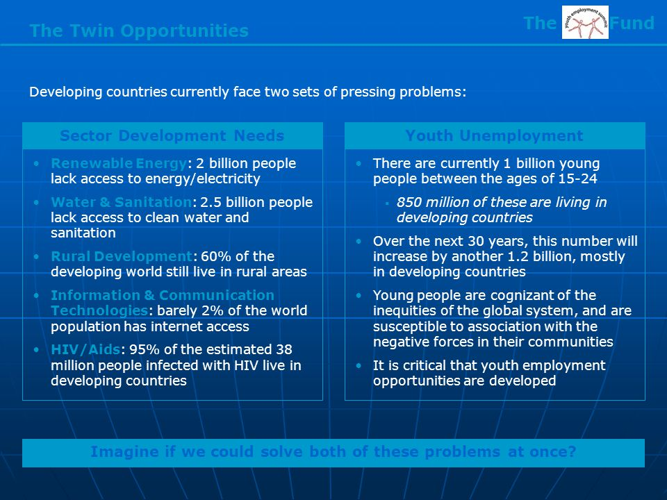 The Twin Opportunities Developing countries currently face two sets of pressing problems: Imagine if we could solve both of these problems at once.
