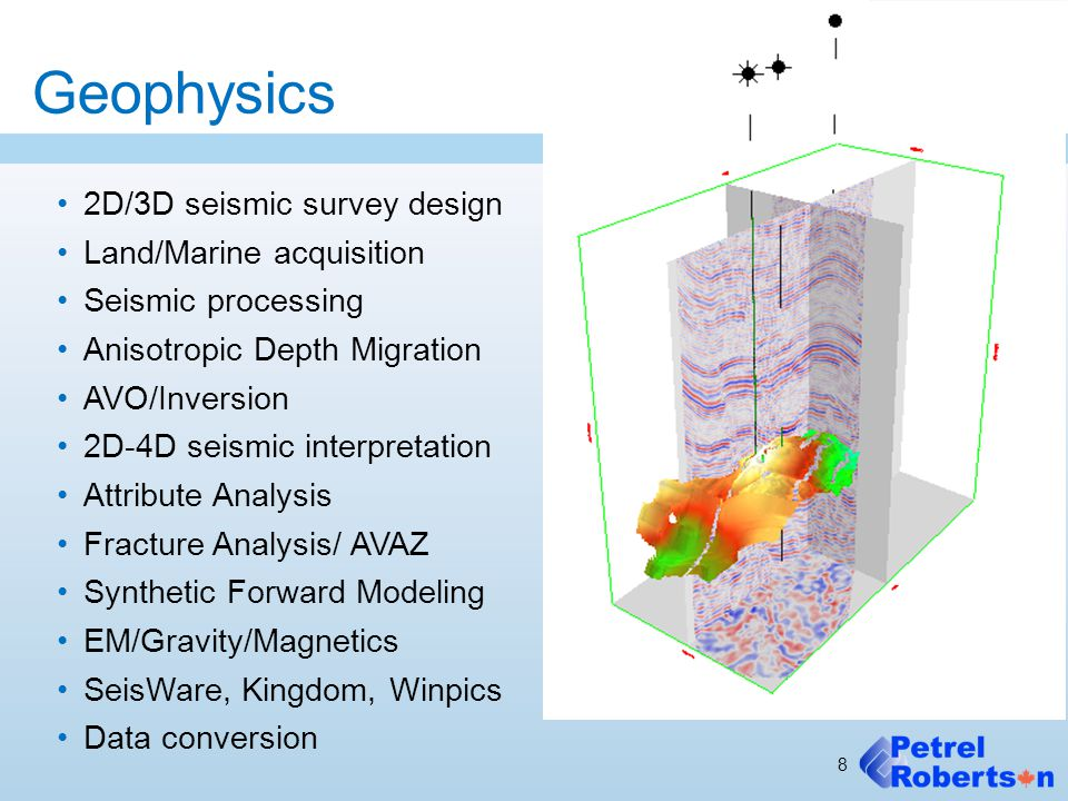 Geophysics 2D/3D seismic survey design Land/Marine acquisition Seismic processing Anisotropic Depth Migration AVO/Inversion 2D-4D seismic interpretation Attribute Analysis Fracture Analysis/ AVAZ Synthetic Forward Modeling EM/Gravity/Magnetics SeisWare, Kingdom, Winpics Data conversion 8