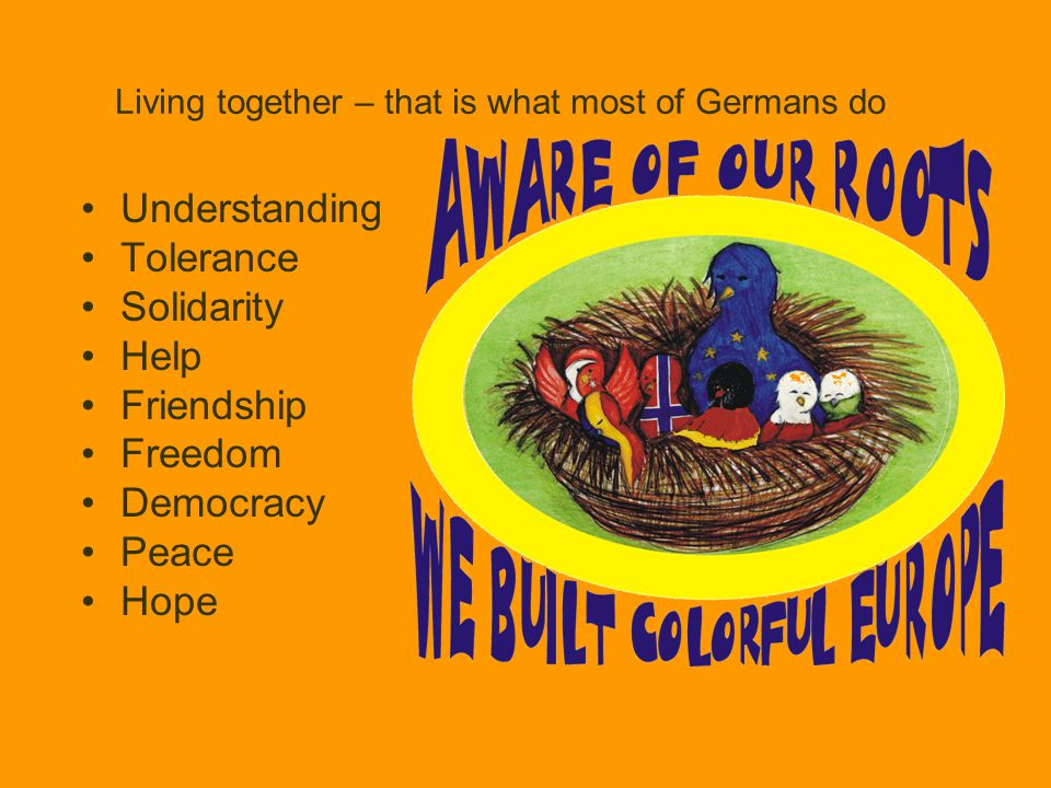 Living together – that is what most of Germans do Understanding Tolerance Solidarity Help Friendship Freedom Democracy Peace Hope