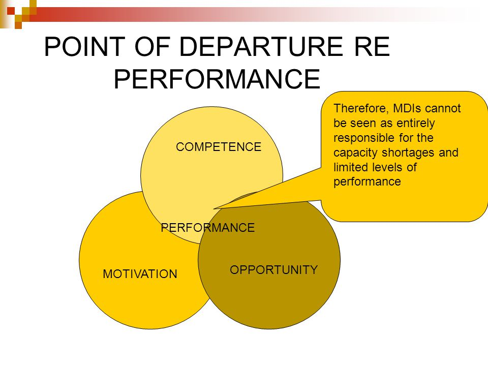 POINT OF DEPARTURE RE PERFORMANCE MOTIVATION COMPETENCE OPPORTUNITY PERFORMANCE Therefore, MDIs cannot be seen as entirely responsible for the capacity shortages and limited levels of performance