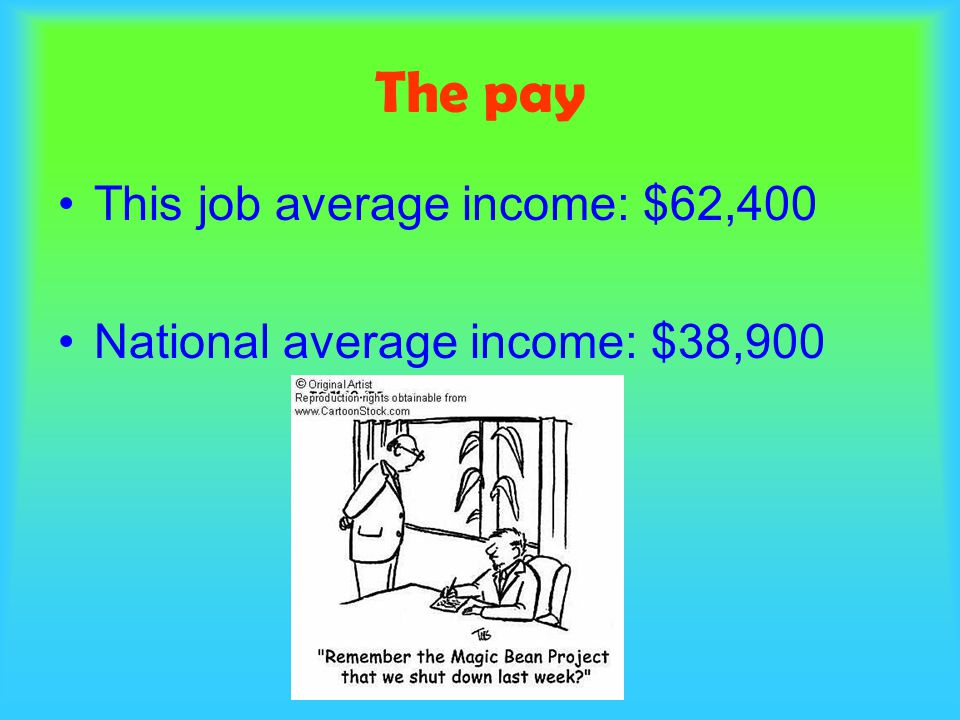 The pay This job average income: $62,400 National average income: $38,900