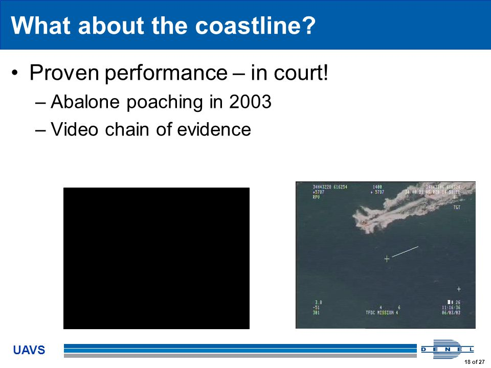 UAVS 18 of 27 What about the coastline. Proven performance – in court.