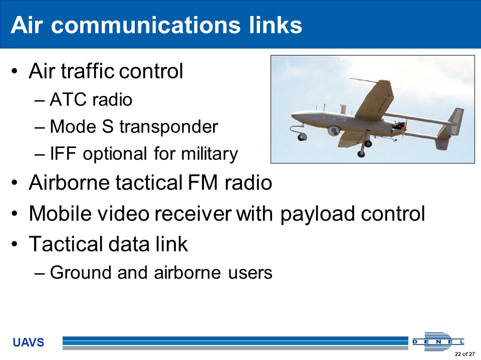 UAVS 22 of 27 Air communications links Air traffic control –ATC radio –Mode S transponder –IFF optional for military Airborne tactical FM radio Mobile video receiver with payload control Tactical data link –Ground and airborne users