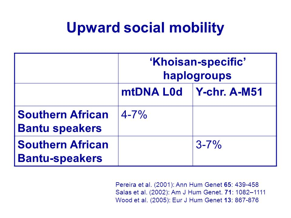 Upward social mobility 'Khoisan-specific' haplogroups mtDNA L0dY-chr. A-M51 Southern African Bantu speakers 4-7% Southern African Bantu-speakers 3-7%