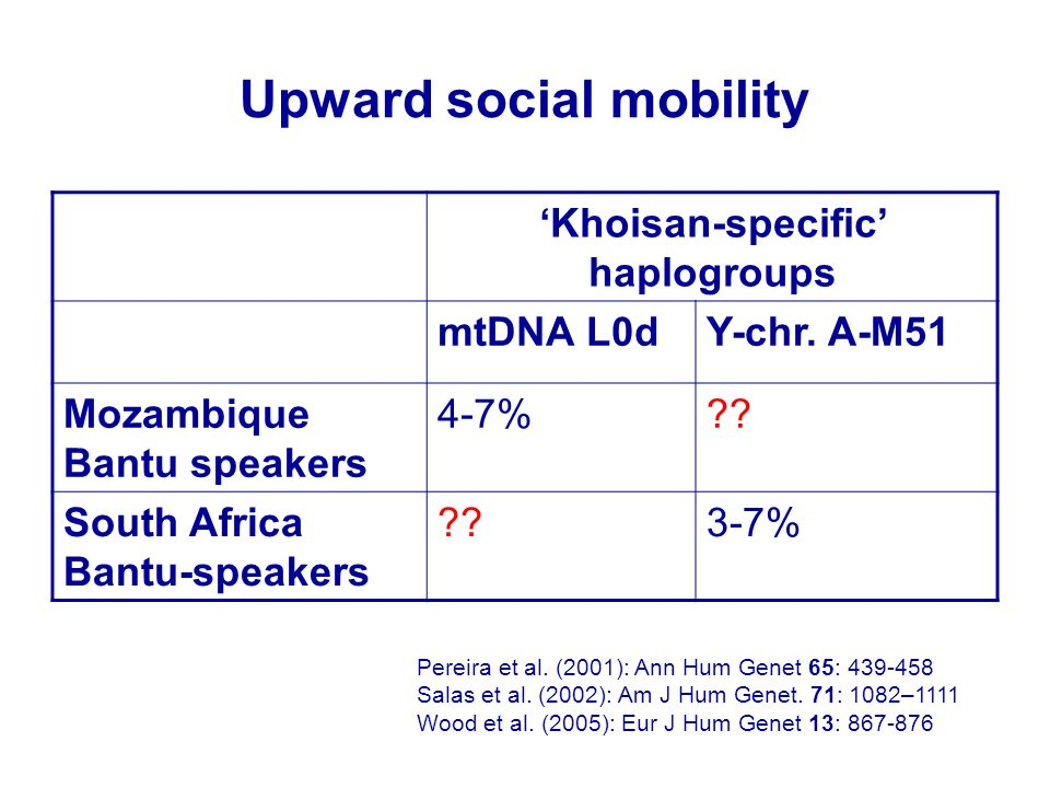 Upward social mobility 'Khoisan-specific' haplogroups mtDNA L0dY-chr. A-M51 Mozambique Bantu speakers 4-7%?? South Africa Bantu-speakers ??3-7% Pereir