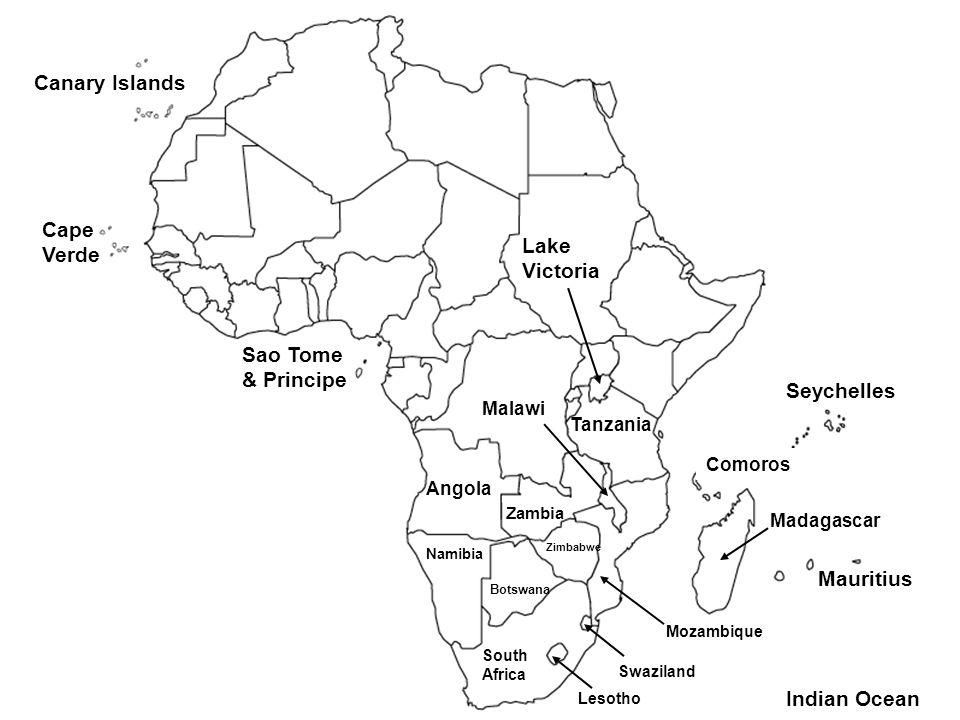 Canary Islands Cape Verde Sao Tome & Principe Lake Victoria Seychelles Angola Zambia Malawi Tanzania Comoros Namibia Botswana Zimbabwe Mauritius Mozam