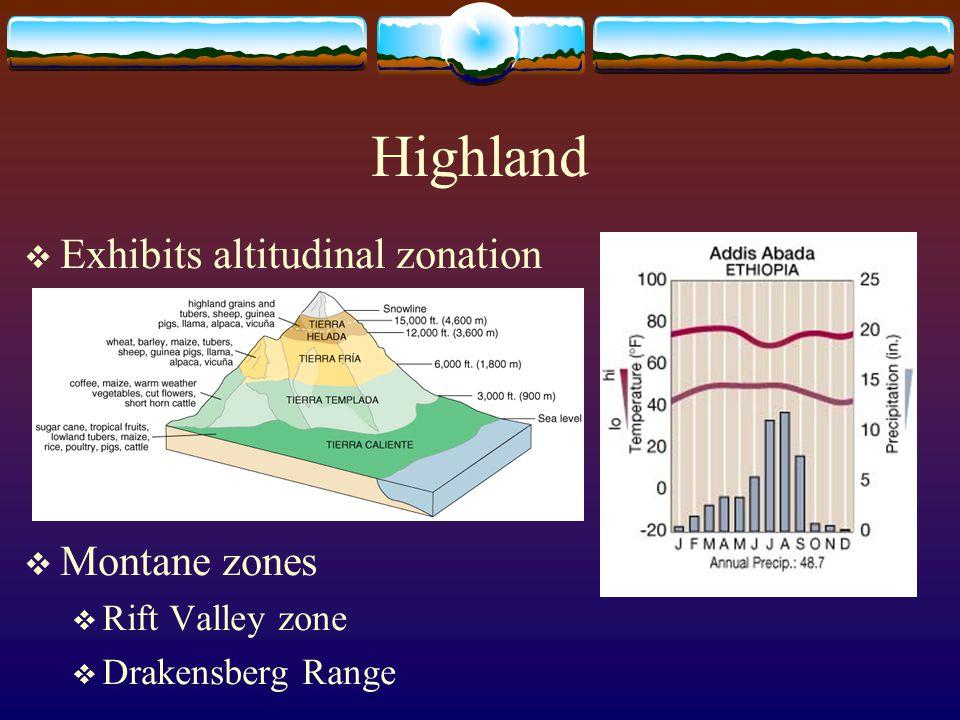 Highland  Exhibits altitudinal zonation  Montane zones  Rift Valley zone  Drakensberg Range