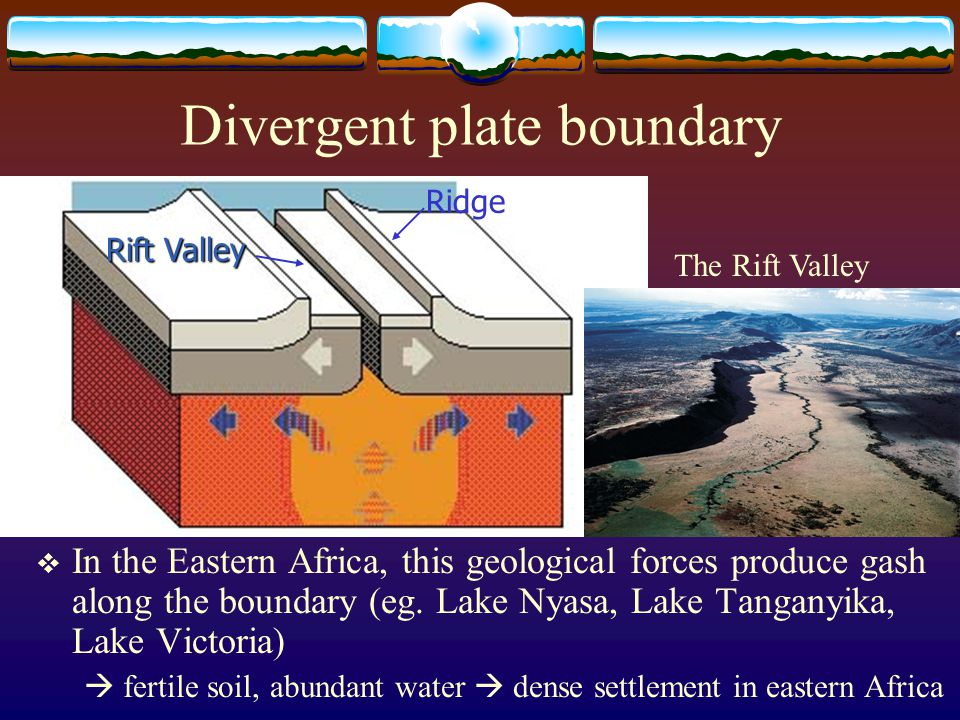 Divergent plate boundary  In the Eastern Africa, this geological forces produce gash along the boundary (eg. Lake Nyasa, Lake Tanganyika, Lake Victor