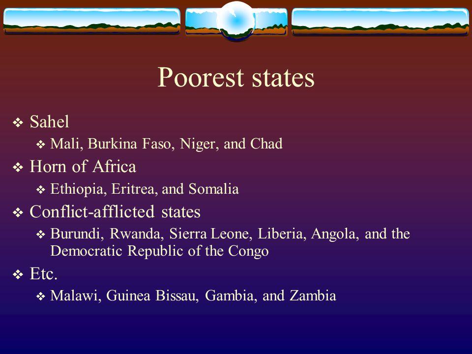 Poorest states  Sahel  Mali, Burkina Faso, Niger, and Chad  Horn of Africa  Ethiopia, Eritrea, and Somalia  Conflict-afflicted states  Burundi,
