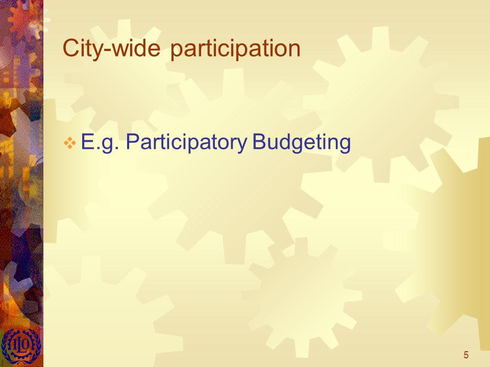 5 City-wide participation  E.g. Participatory Budgeting