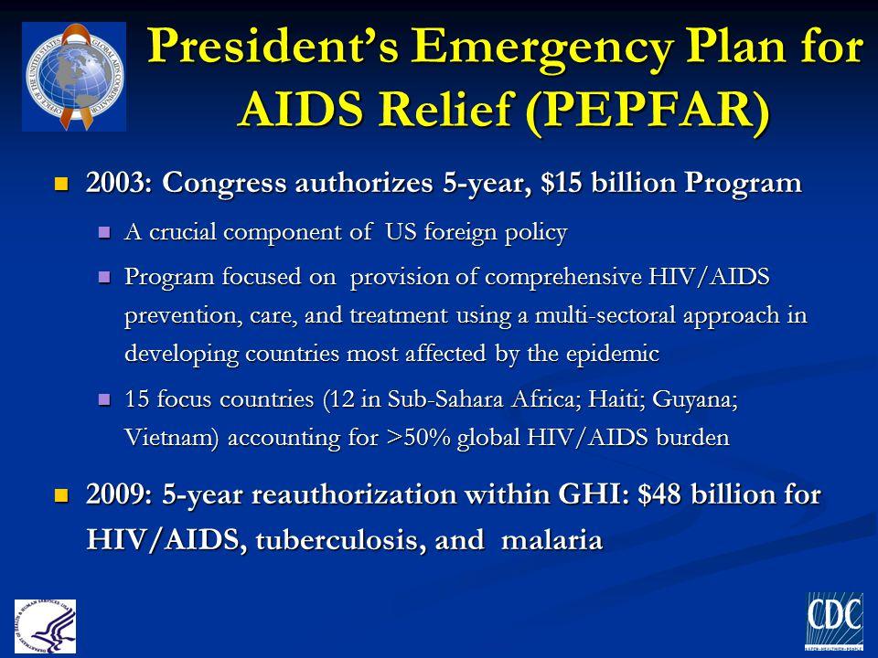President's Emergency Plan for AIDS Relief (PEPFAR) 2003: Congress authorizes 5-year, $15 billion Program 2003: Congress authorizes 5-year, $15 billio